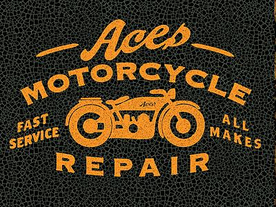 Aces Motorcycle Repair 2 motorcycle t-shirt logo retro vintage script cracks tecture