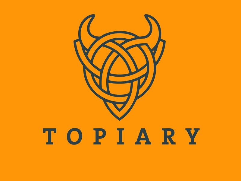 Topiary Bull Logo wall street financial bull celtic logo accounting tax chess