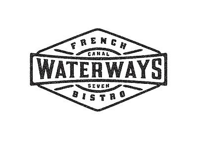 Waterways French Bistro 3 restaurant logo gold vintage retro money rowing boathouse  branding