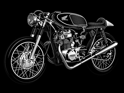 Honda Cafe Racer Cb 350 honda vintage engraving motorcycle illustration screen print poster