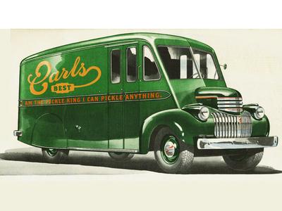 Earls Best Pickle Truck earls best pickle logo branding