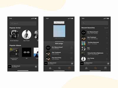 Music App Exploration Design layout application ux ui typography design