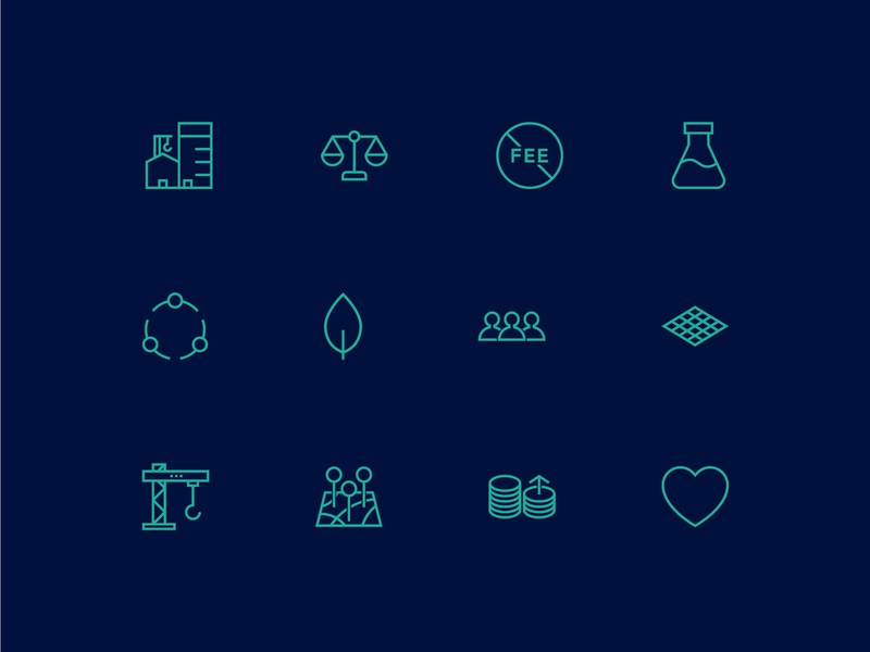 Dantia Website Icon Set teal illustrator icon design iconography icons lake macquarie newcastle construction building map people leaf scales heart user interface ui web design icon set symbol icon