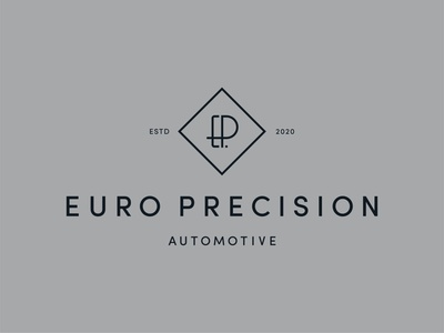 Euro Precision Automotive Logo grey high end elegant line diamond p e logodesign workshop mechanic automotive brandmark symbol icon brand identity branding logo design art deco monogram logo