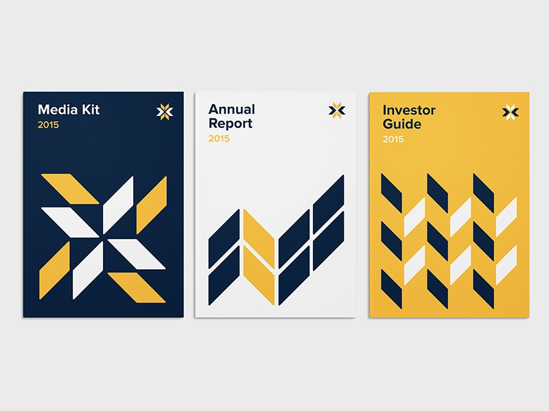 Tribogenics Brochure Design brand identity brand branding logo navy yellow bold cover start-up startup print design brochure
