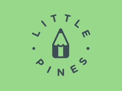 Little Pines Logo tree pencil circle symbol little pines children childcare early education logo seal
