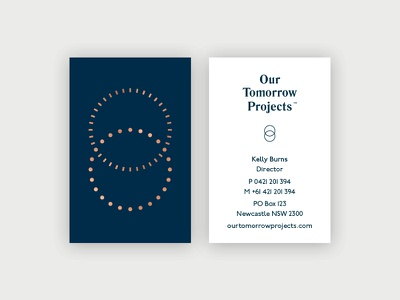 Our Tomorrow Projects Business Card wordmark navy business card golf foil tomorrow moon sun logo startup