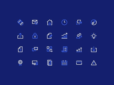 Coassemble Icon Set integration lock users report email clock warning award speech bubble pencil home graph light bulb education reverse white navy blue icon set icon