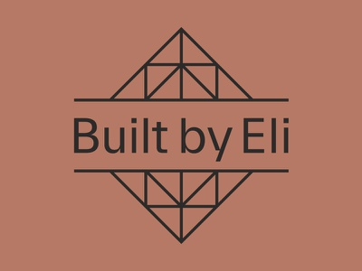 Built By Eli Logo timber wood architecture branding triangle brand identity newcastle residential geometric brown logo design roof roof truss construction builder brandmark logo