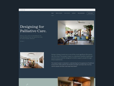 Designing for Palliative Care design website design wordpress research academic newcastle architecture photography navigation minimal typography blue navy survey form ux ui web design website webdesign