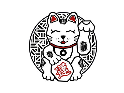 MANUKI NEKO - LUCKY CAT red graphic tablet badge circle pattern minimalist cat