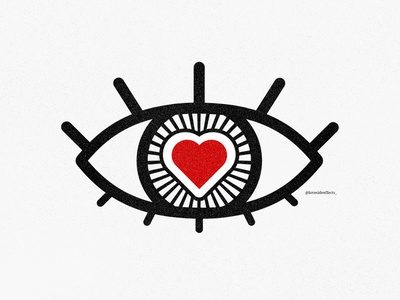 LOVE AT FIRST SIGHT // lovesideeffects_ project minimal flat lines icon 2020 heart eye symbol red illustrator vector logo illustration design