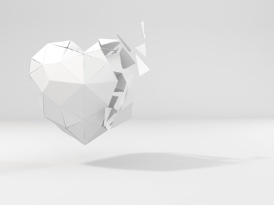 LOWPOLY HEART // C4D poster art visualart visual design explosion lowpolygon lowpoly cinema4d c4d creative art white minimalist animation 3d
