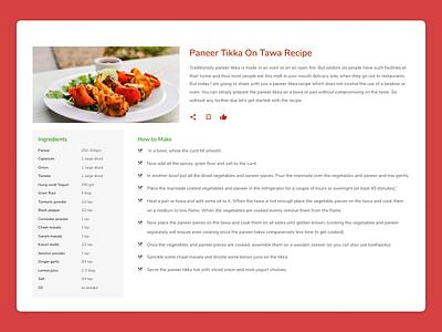 DailyUI #040 - Recipe material icons menu dailyui040 recipes recipe design dailyui uidesign ui