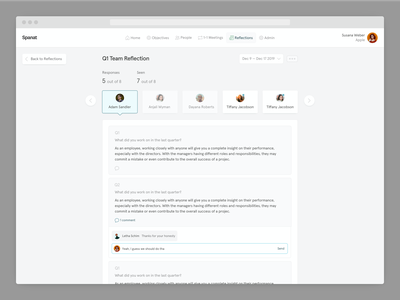💭 Reflections in Spanat ux ui saas employee engagement platform hr feedback form review spanat questionnaire answers form feedback reviews reflections