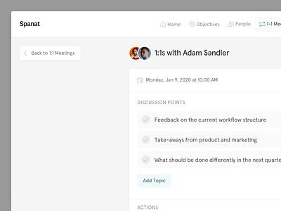 💬 1:1 Meetings in Spanat meetings hr employee engagement startup ux ui saas todo schedule 1:1s one-on-one meeting spanat agenda