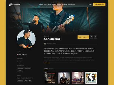 Artist Profiles — Musiversal musician profile artist profile tracks credits samples dark marketplace profile home studio artist artists musiversal musicians musician