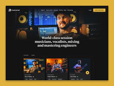 Explore — Musiversal rebrand dark band roster catalogue marketplace typography branding sessions bookings musicians recording studio explore musiversal