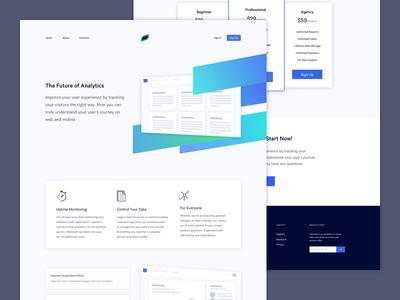 Analytics Startup Landing Page clean simple app ux ui startup gradient homepage landing