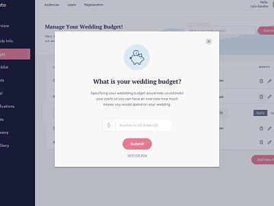 Add Budget Modal wedding dashboard onboarding card form budget modal