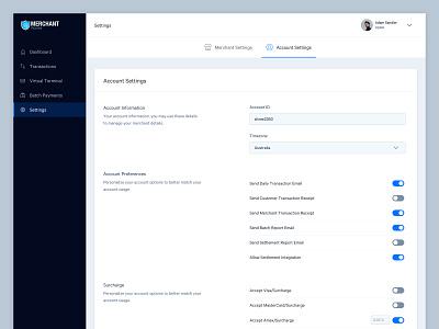 Account Settings merchant account settings dashboard payments