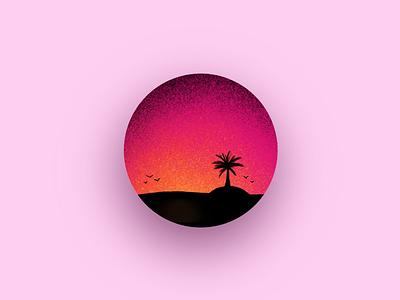 Pink Sunset illustrator graphic designer brushstroke orange pink gradient experimentation illustration design procreate