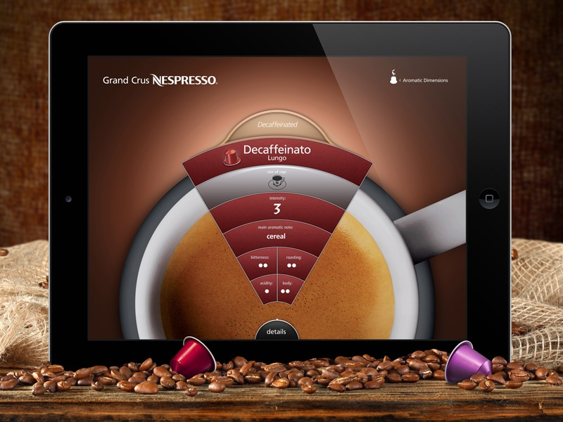 Nespresso iPad Flavor Wheel  ipad capsules nespresso ui