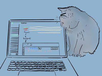 Cat & Code cat laptop animal illustration illustration