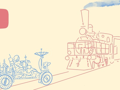 Moon Rover and Train (fragment) future past moon space rover train illustration