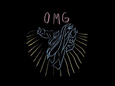 OMG omg blackletter black background illustration