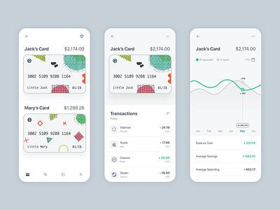KidzCard Bank App Concept credit card adobe xd mobile app design responsive education analytics debit card kids bank product design ux ui