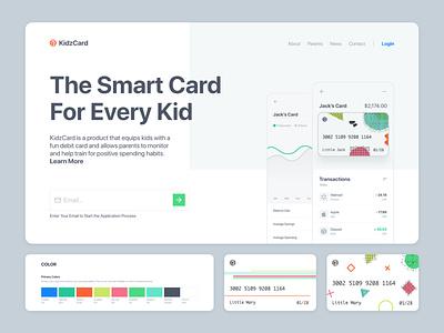 KidzCard Website Concept web design 2020 design front-end development parents bank kids product design ui ux education responsive debit card credit card adobe xd branding website