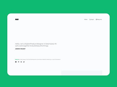Portfolio Website Design portfolio website design front-end development responsive ui adobe xd product design ux brand identity aw clean modern simplistic work kalamazoo michigan