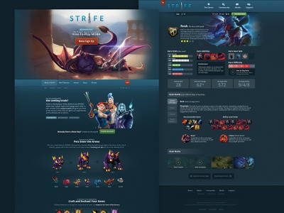 Strife Website front-end development strife experience design teal responsive gaming moba web design