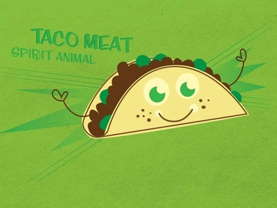 Taco Spirit Animal illustration taco green fun silly