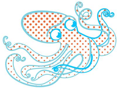 Octopie illustration octopus dots
