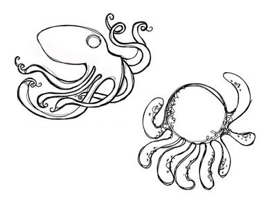 O Drawing 2 illustration octopus dots hand drawing