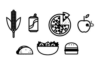 You om, then you nom.  icons illustration food