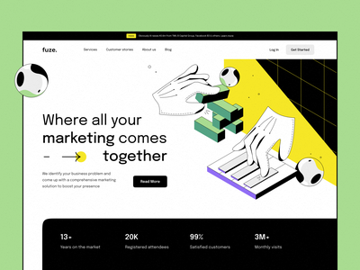 Website for marketing agency home page hero image agency marketing design ux emotional design illustration typography logo graphic design website webdesign