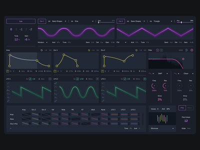 Ableton Wavetable Redesign clean dark minimal interface app ui redesign concept music redesign