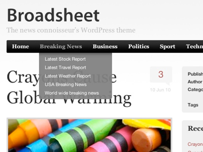 Broadsheet Wordpress Theme wordpress theme news navigation blog