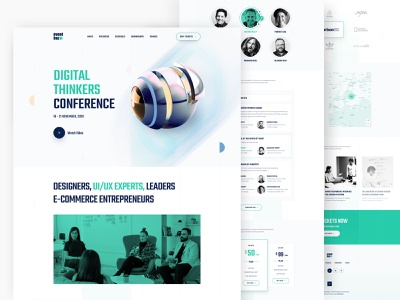 Digital Thinkers Conference Full Home Page digital thinkers digital thinkers digital thinkers conference conference event 2020 abstract typography webflow ui ux event landing page landing page homepage illustration 3d abstract design website business