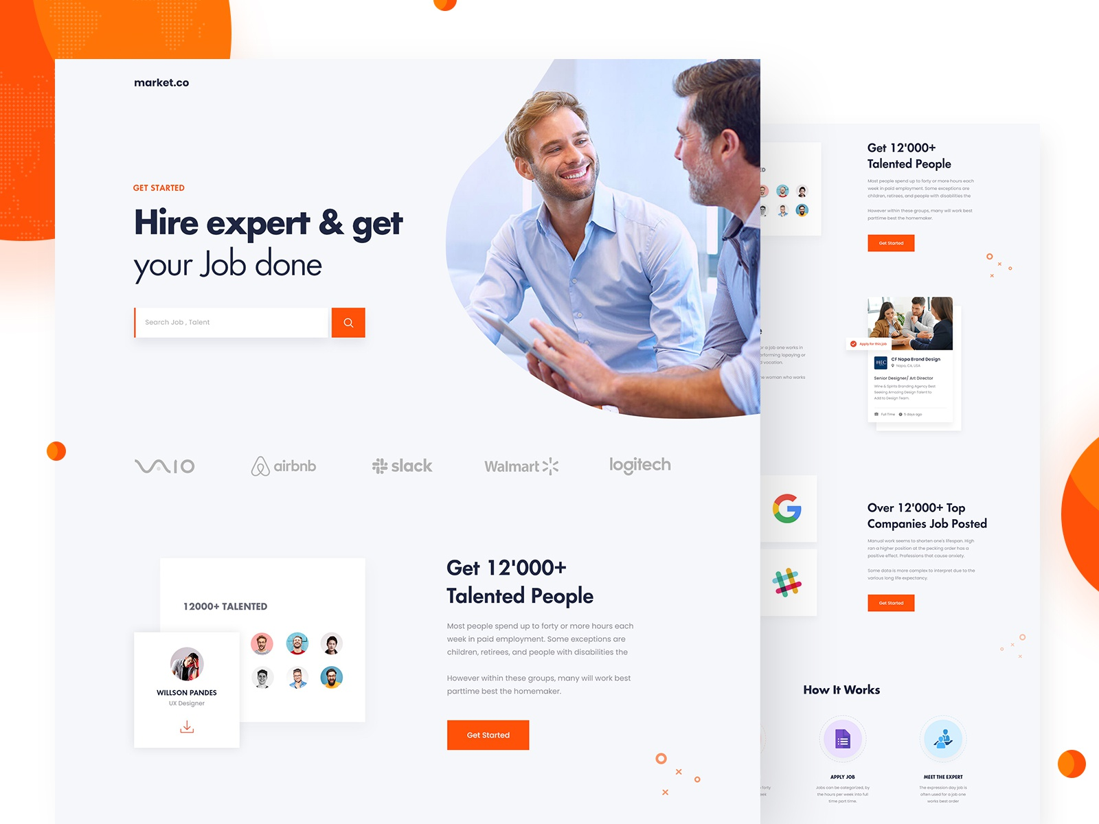 Talent search landing dribbble preview