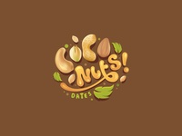 Coco Nuts Dates wordmark logo made out of nuts