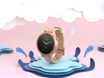 Verizon - Moto 360 verizon waterproof rain splash moto360 watch design adveristing paper cut paper craft paper art illustration
