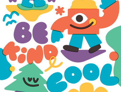 Busy work drawing fun doodle bekind lettering character vector art illustration