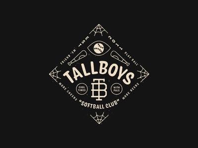 Tallboys 2020 logo badgedesign spiderweb conifer softball baseball lockup badge