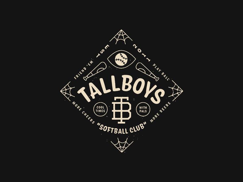 Tallboys 2020 logo badgedesign spiderweb conifer softball baseball lockup badge