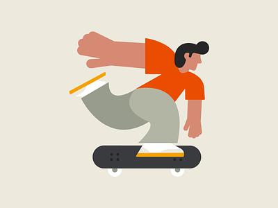 Pushin' flat fun skateboarding skateboard character vector art illustration