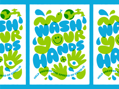Wash your hands! print poster vector character smiley wash hands covid-19 art illustration